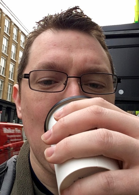 Daniel Platt drinking hot chocolate
